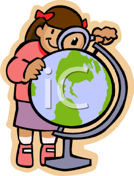 Royalty Free Clipart Image: Schoolgirl Looking at a Globe with a.