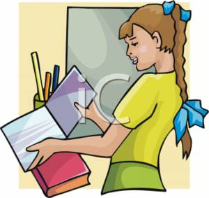 School Clipart of a Girl Looking at a Folder.