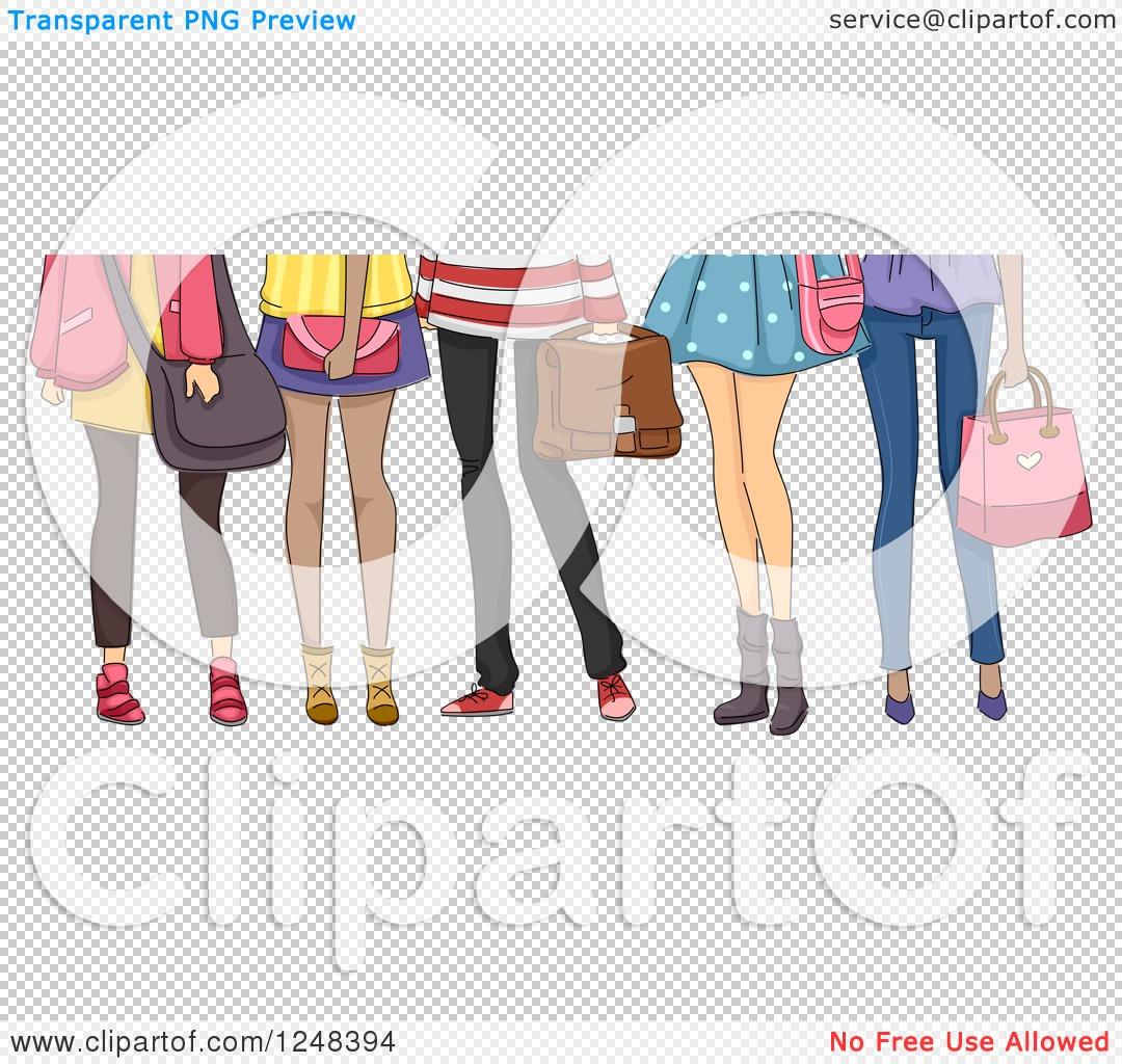 Clipart of Legs of Teenage High School Girls.