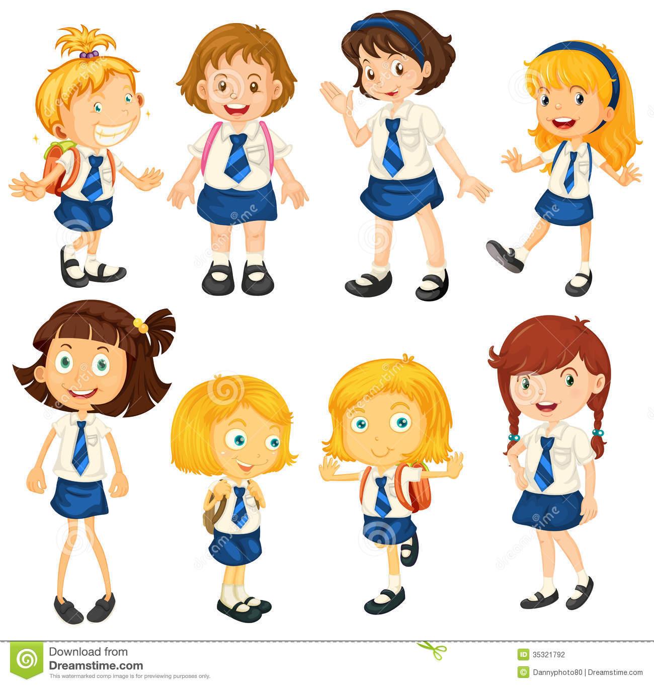 Schoolgirls Stock Illustrations.