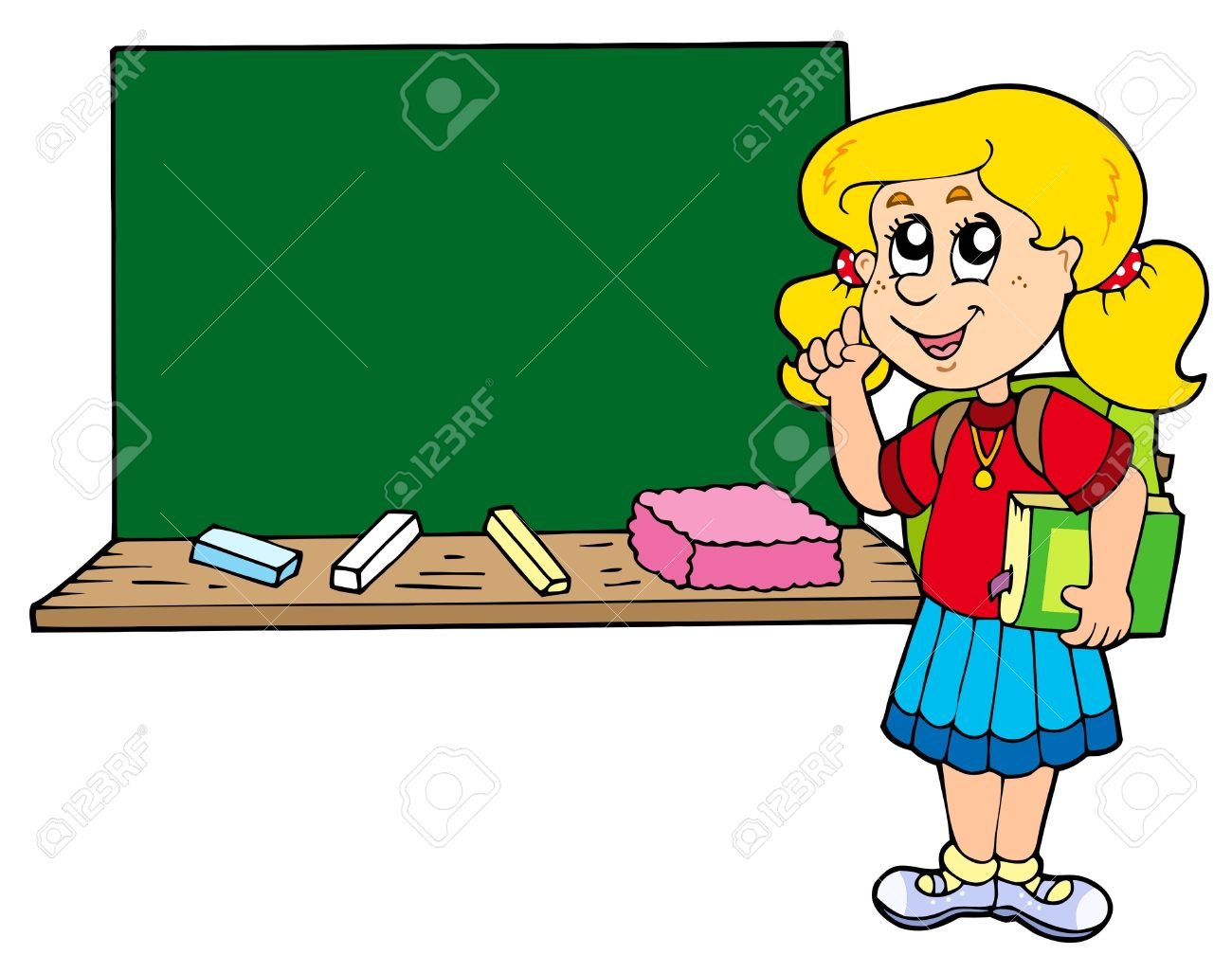 Advising School Girl With Blackboard Royalty Free Cliparts.