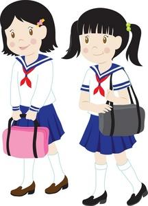 Cartoon brunette school girl clipart.