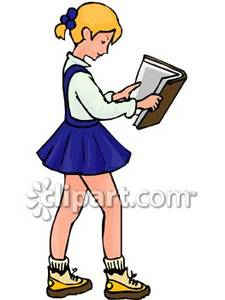 Reading a Book Royalty Free Clipart Picture.