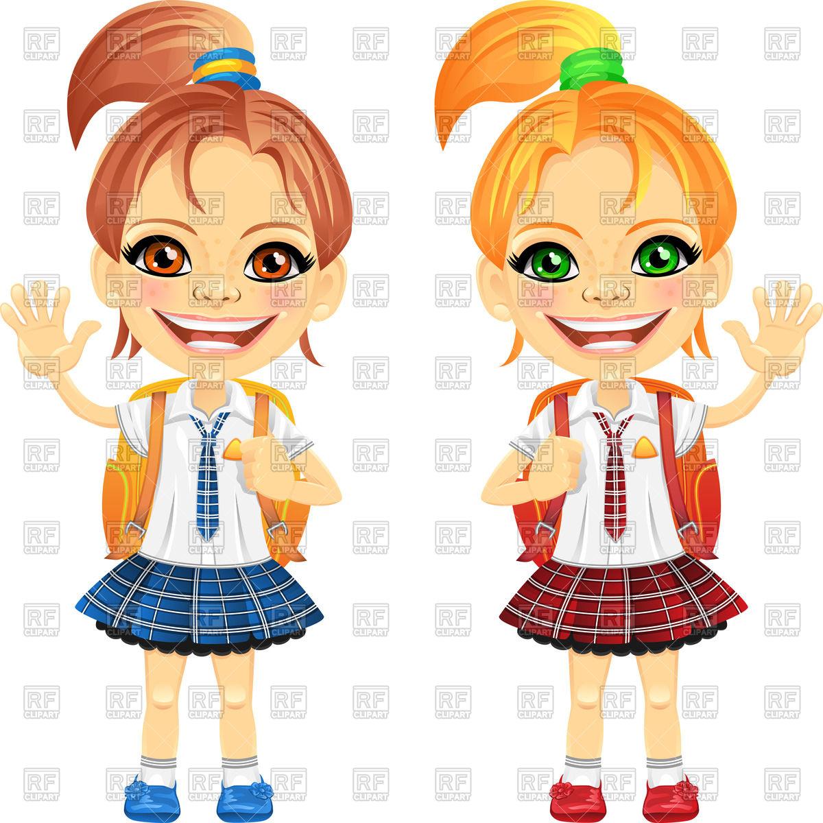 Cute schoolgirls with school bag.