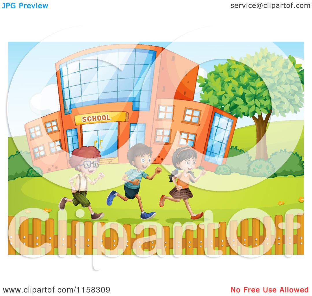 Clipart of Children Running in a School Yard.