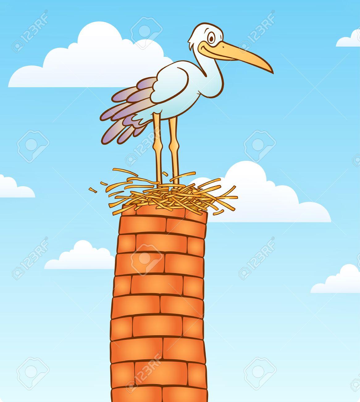 Stork Vogel Auf Der Schornstein. Lizenzfrei Nutzbare.