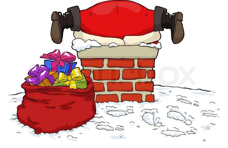 Weihnachtsmann, schornstein, clipart.