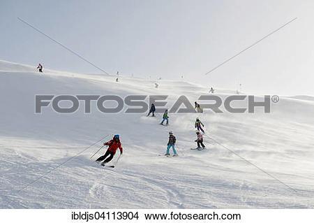 Stock Photo of Ski school group, Schrocken Bregenzerwald.