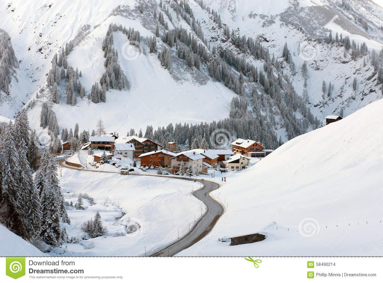 A Tiny Village Of Nesslegg, Schrocken, Austria Stock Photo.