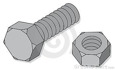 Nut And Bolt Cartoon Clipart.