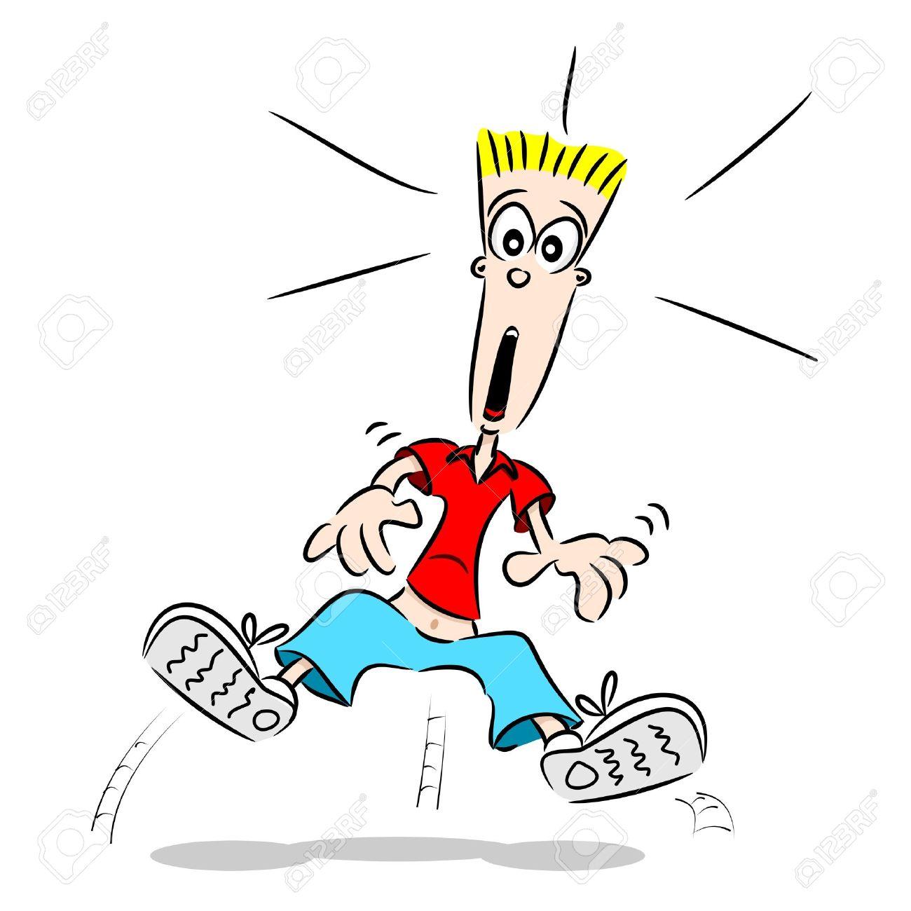 Eine Karikatur Kerl Sprang Vor Schreck Mit Schock Im Gesicht.