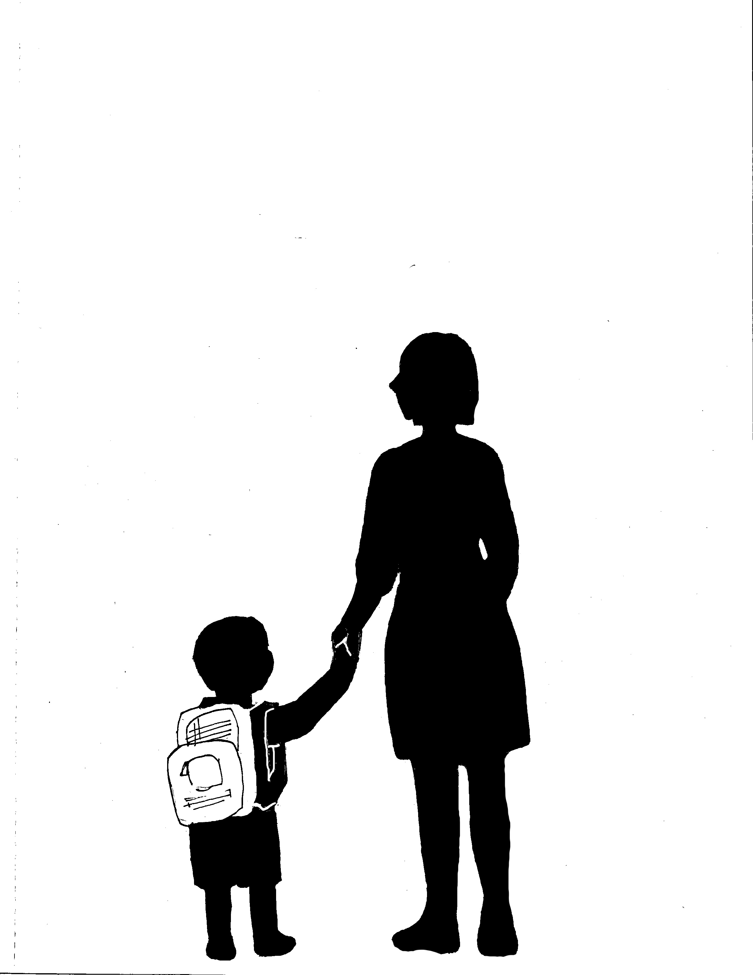 Silhouette clipart mother and child.