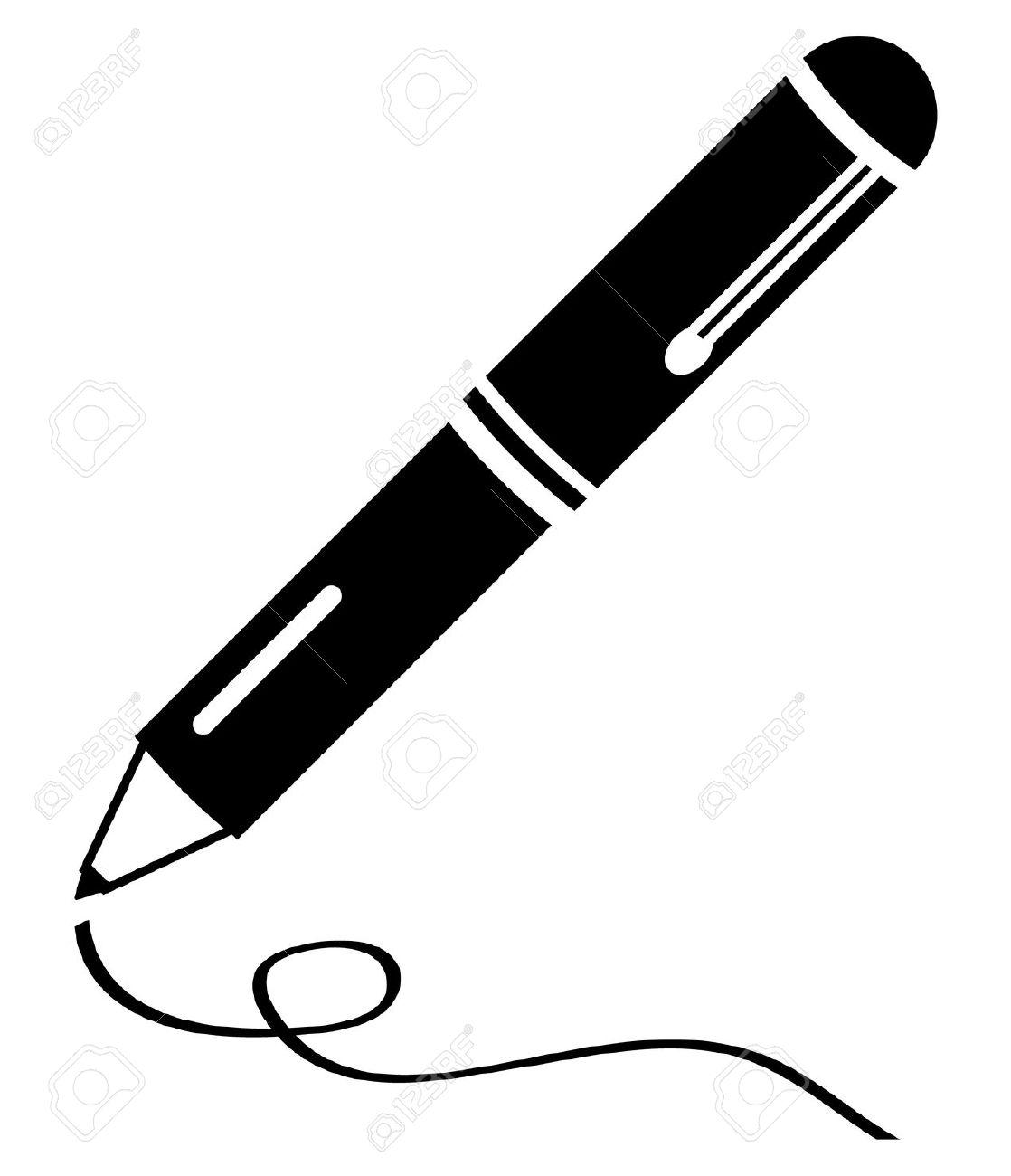 Schreibfeder Saubere Schwarze Ikone Lizenzfrei Nutzbare.