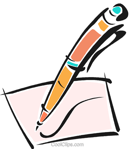 pen writing on a piece of paper Royalty Free Vector Clip Art.