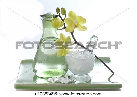 Stock Images of Flacon, Schuessler Cell Salts and orchid u10353496.