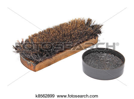 Stock Photograph of shoe brush on white background k8562899.