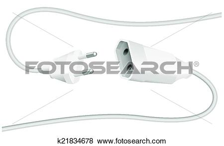 Clip Art of Extension Cable Plug Schuko k21834678.