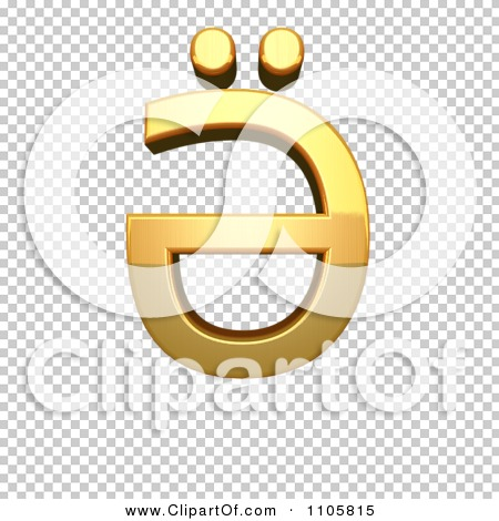 3d Gold cyrillic capital letter schwa with diaeresis Clipart.