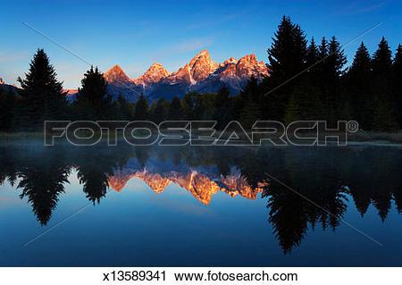 Stock Photography of USA, Wyoming, Grand Teton NP, Schwabacher.