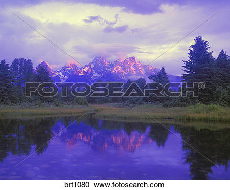 Stock Photography of Sunrise on the Grand Teton Mountains from.