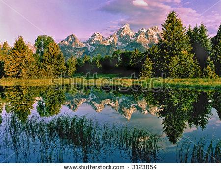 Grand Teton Mountains,Wyoming Schwabacher Landing Stock Photo.