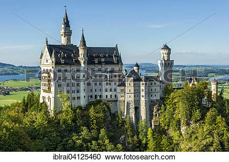 Stock Photography of Neuschwanstein Castle above Pollatschlucht.