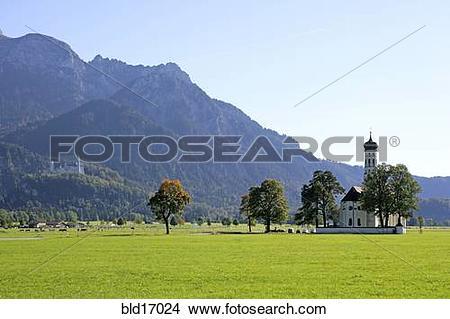Stock Photo of St Coloman pilgrimage church near Schwangau Bavaria.
