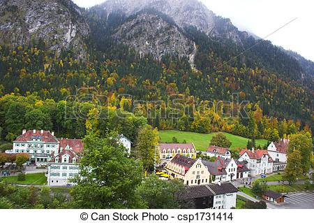 Stock Photo of View of Bavarian village from Hohenschwangau.