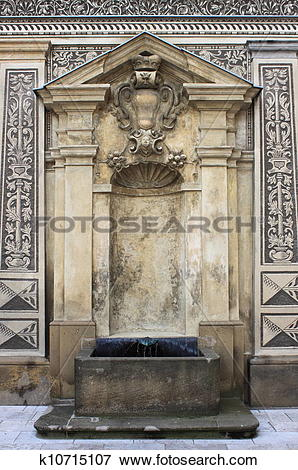 Picture of Renaissance fountain in Schwarzenberg Palace of Prague.