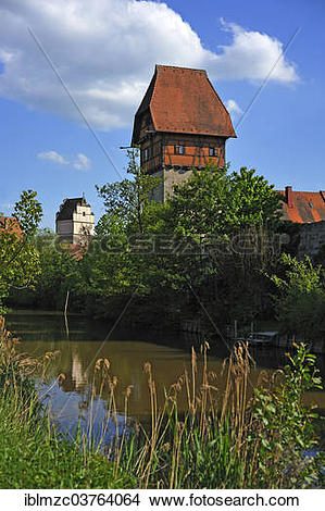 "Stock Photo of ""Baeuerlin Tower, watchtower, Woernitz River at."