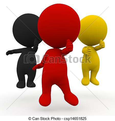 Clip Art of 3d people election Germany schwarz rot gold thumb up.