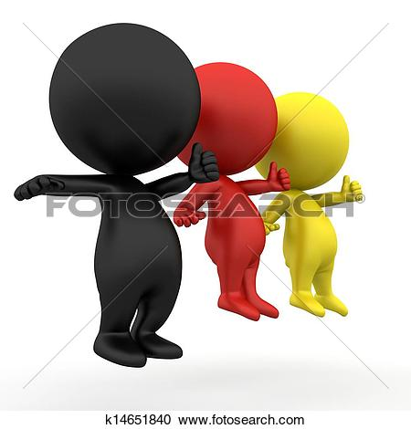 Stock Illustrations of schwarz rot gold 3d people thumb up.