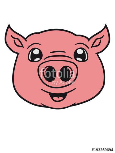 schwein gesicht kopf süß niedlich comic cartoon lachen.