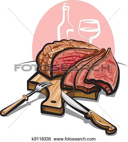Clipart of roast beef k9118335.