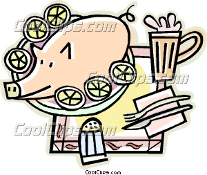 Pig on a platter Clip Art.