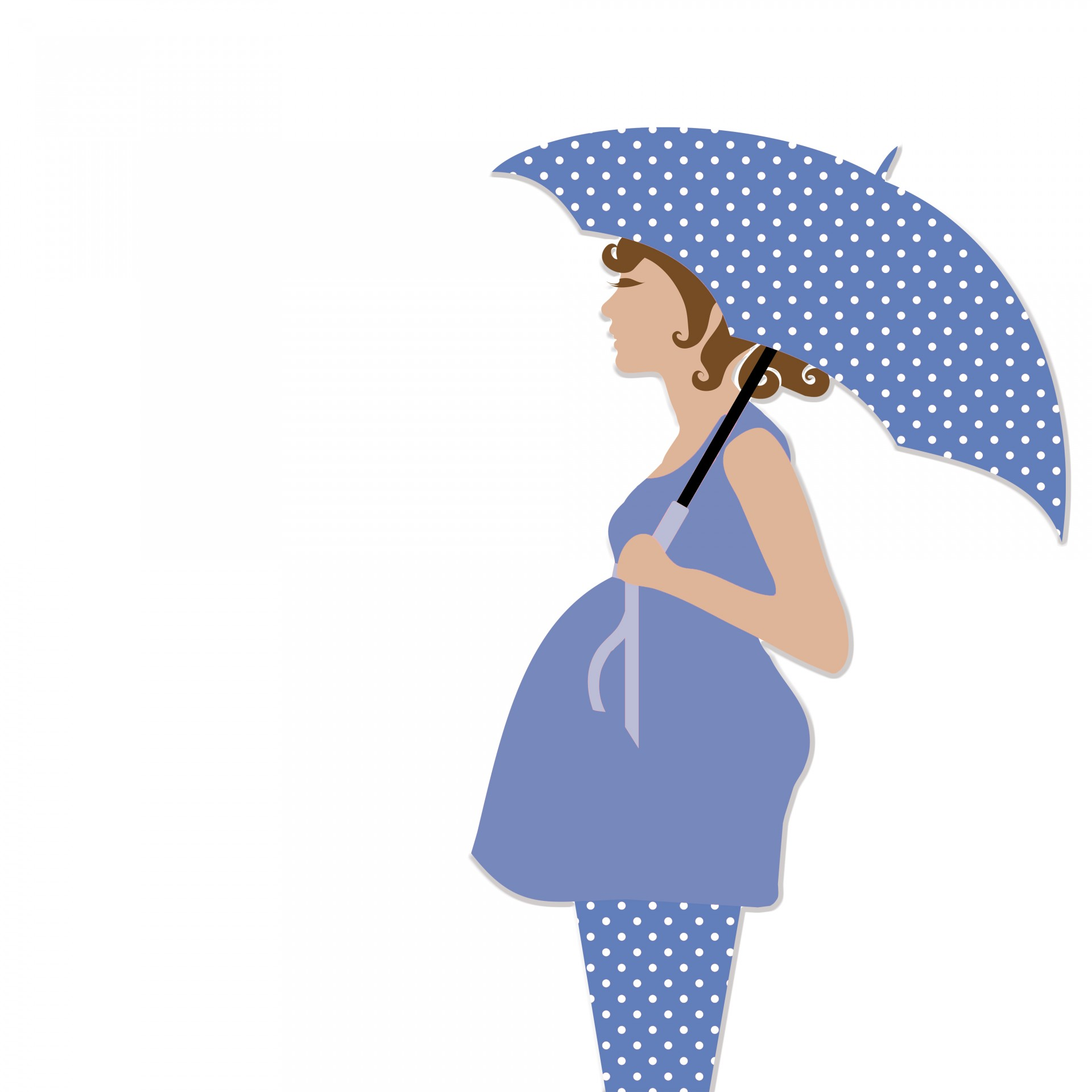 Schwangere Frau mit Regenschirm Kostenloses Stock Bild.