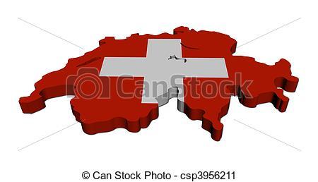 Clipart von Landkarte, render, abbildung, Fahne, schweiz, weißes.