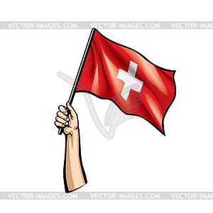 Switzerland flag and hand.