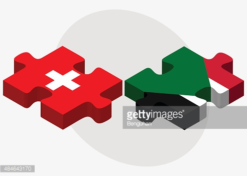 Schweiz UND Sudan Flags premium clipart.