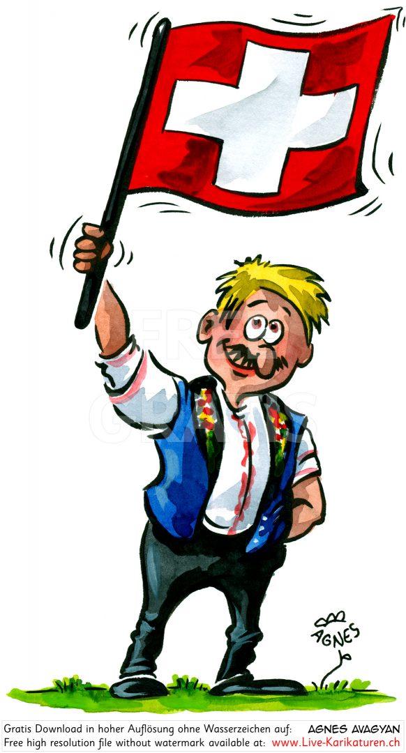 1. August Fahnen schwingen blau Nationalfeiertag Schweiz.