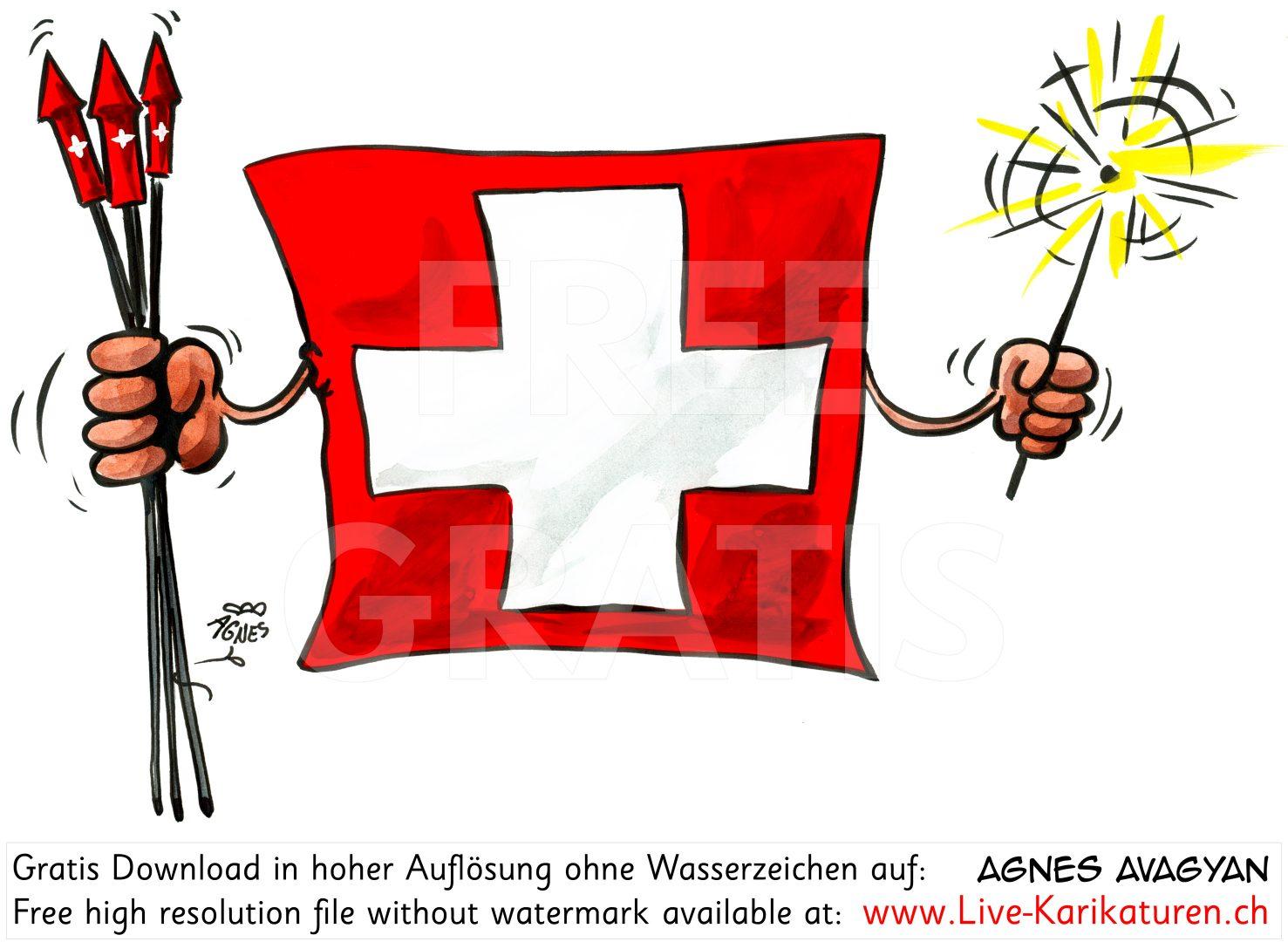 1. August Schweizer Fahne Raketen Nationalfeiertag.