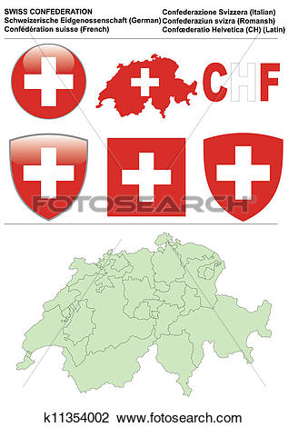 Clip Art of Switzerland collection including flag, map.