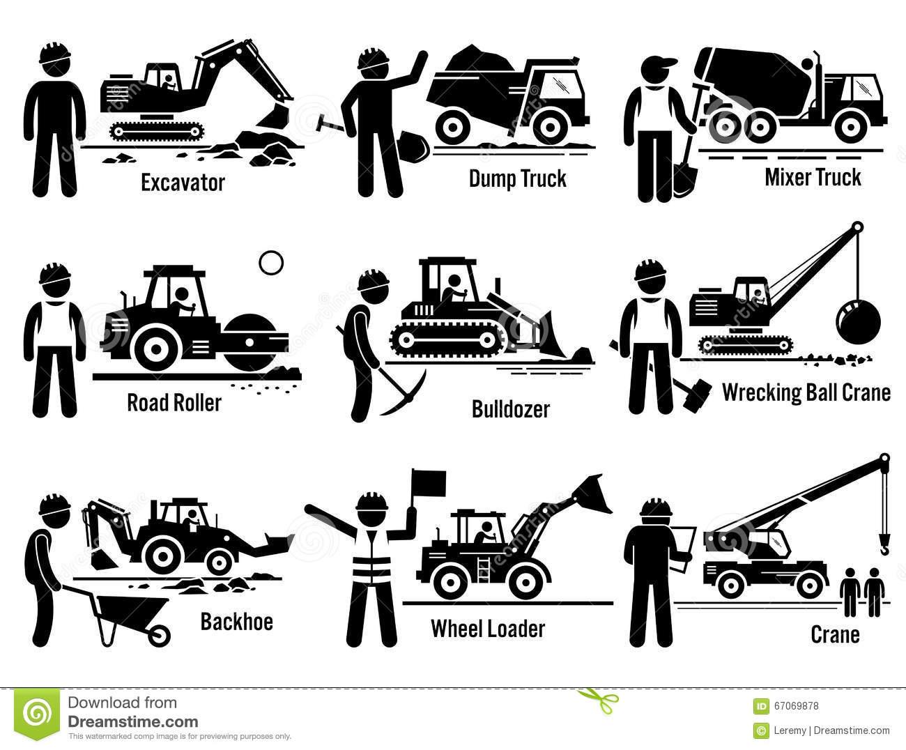 Baumaschinen Transport Und Arbeitskraft Gesetztes Clipart Vektor.