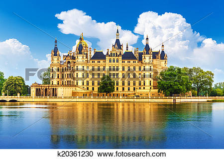 Stock Photography of Ancient castle in Schwerin, Germany k20361230.
