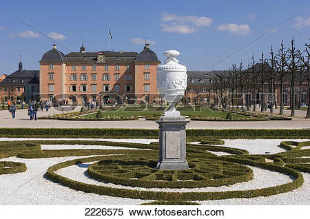 Stock Image of Vase on pedestal in formal gardens of palace.