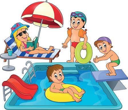 Children by pool theme image 3 Clipart Image.