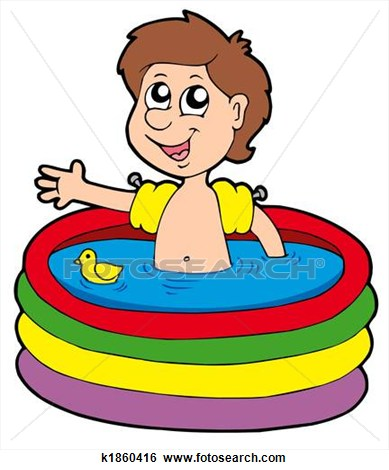 Boy swimming in pool clipart.