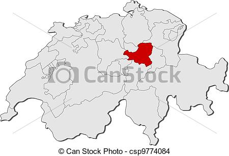 EPS Vector of Map of Swizerland, Schwyz highlighted.