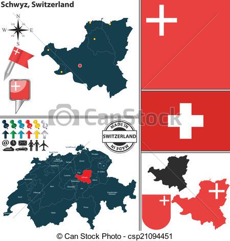 Clipart Vector of Map of Schwyz, Switzerland.