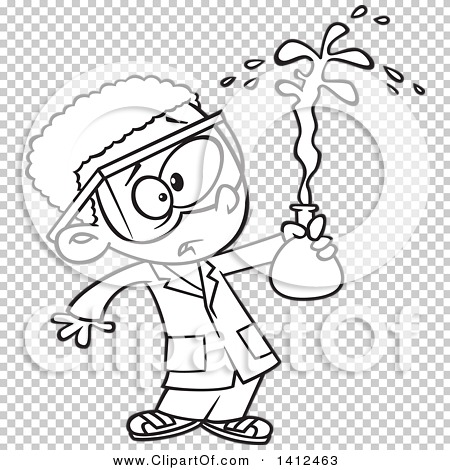 Clipart of a Cartoon Black and White Lineart African American.